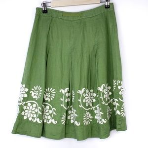 Ann Taylor Boho Linen Floral Embroidered Skirt